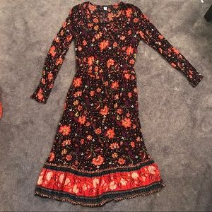 Floral L/S Maxi Dress Size M NWT